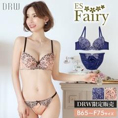 【Fairy】リボン付きチャーミングエンブロイダリーブラジャー&フルバックショーツ