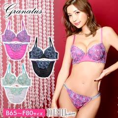 10/2新作!【granatus】flower刺繍×チュールレースブラジャー&フルバックショーツ