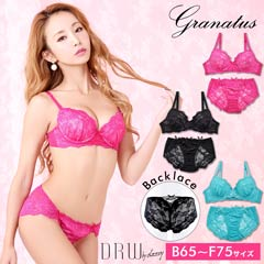 6/26新作!【granatus】フロントレースアップブラジャー&フルバックショーツ