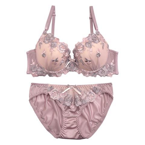 Rose刺繍ブラジャー&フルバックショーツ[DRW1250](オレンジ-A65/ショーツM)