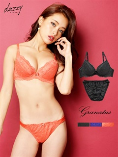 【granatus】【大きいサイズ有】flower柄コードレース&ラインストーン付きブラジャー&ショーツ/下着