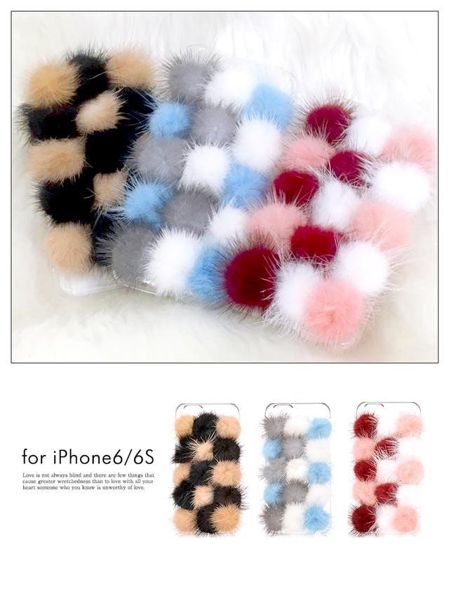 iPhone6/6s敷き詰めファーケース