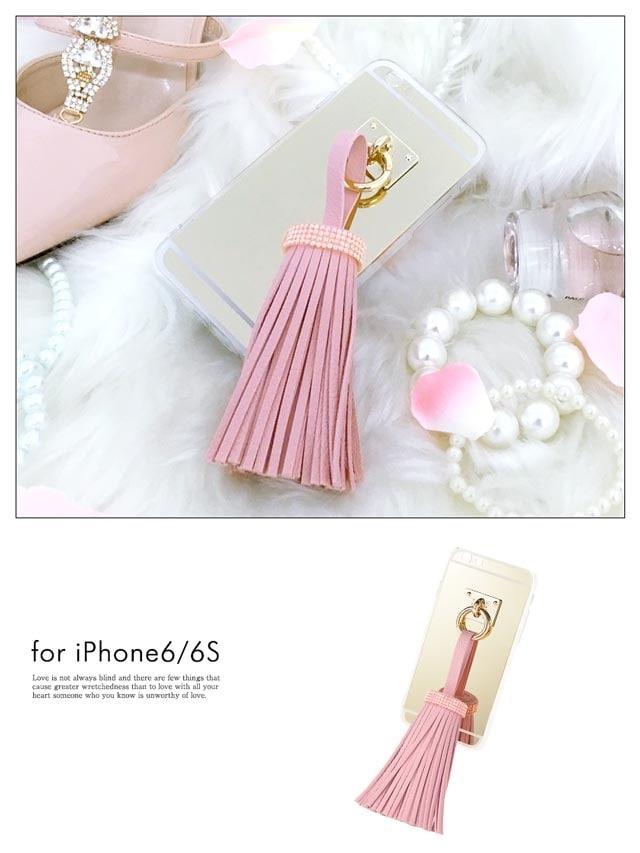 iPhone6/6sBIGフリンジ付きバッグミラーケース