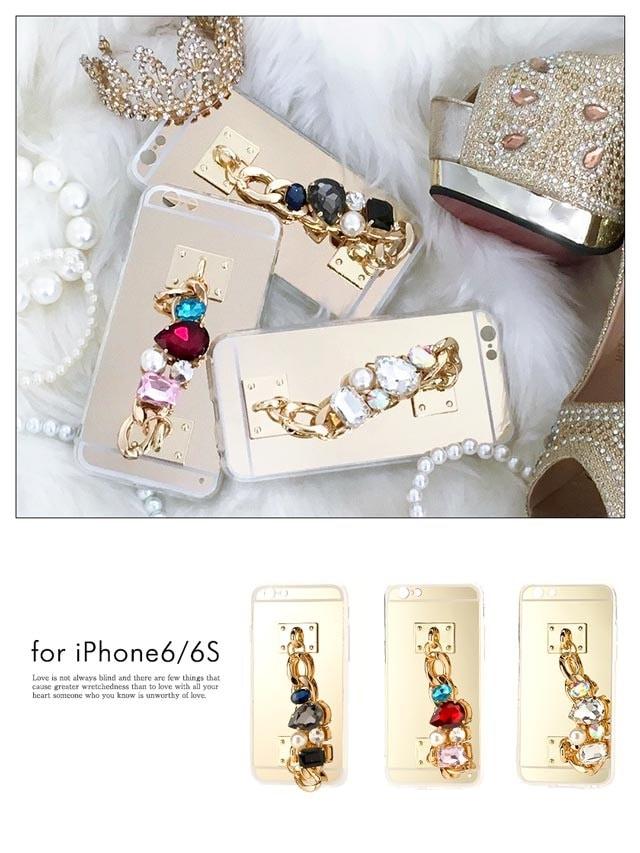 iPhone6/6s大粒ビジュー&GOLDチェーン持ち手付きケース