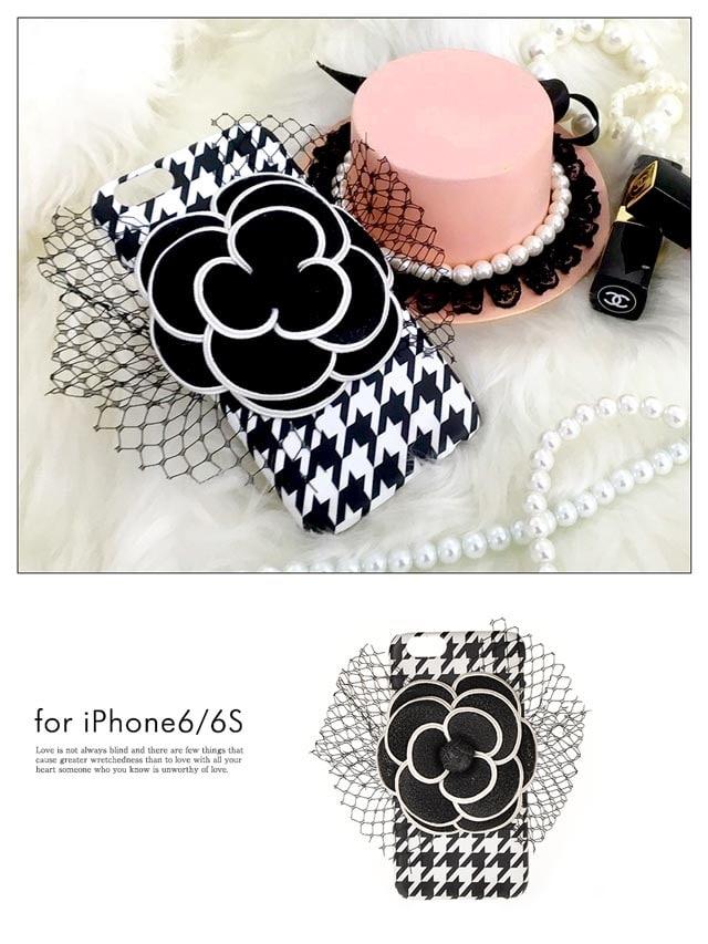 iPhone6/6s千鳥格子柄BIGカメリアフラワーモチーフケース
