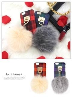 iPhone7ファーチャームブルーチェック柄ケース