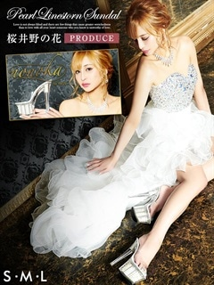 [桜井野の花プロデュース nonoka by dazzy]パール&ラインストーン入りクリアサンダル[15cmヒール/3サイズ/S/M/L]