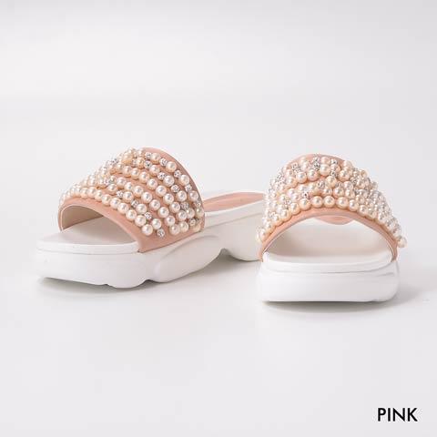 [dazzyオリジナル][4cmヒール]パールビジューサンダル【dazzy beach/2020夏小物】(ピンク-23.0cm)