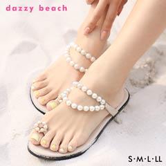 [dazzyオリジナル][5cmヒール]パールトングサンダル[4サイズS/M/L/LL]【dazzy beach/2019夏小物】