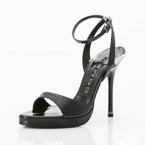 [COMEX][12cmヒール]パイソンピンヒールサンダル[5399](ブラック-22.5cm)