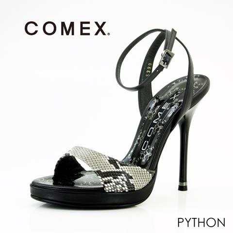 [COMEX][12cmヒール]パイソンピンヒールサンダル[5399](パイソン-22.5cm)
