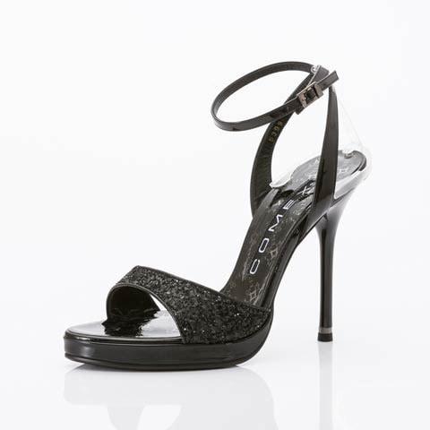 [COMEX][12cmヒール]グリッターラメサンダル[5399g](ブラック-22.5cm)