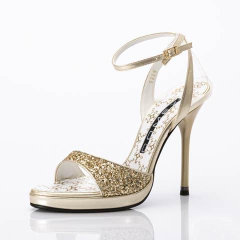 [COMEX][12cmヒール]グリッターラメサンダル[5399g](ゴールド-22.5cm)