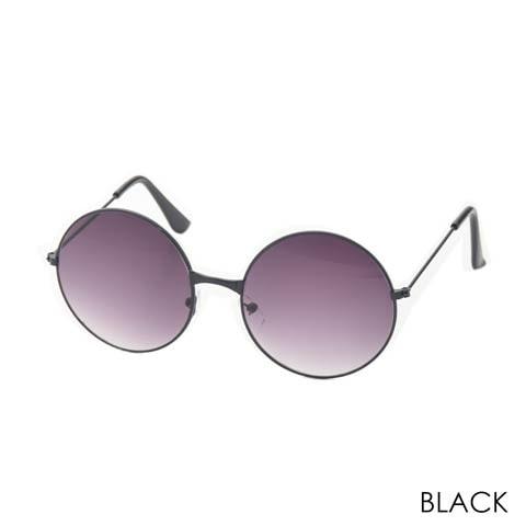 ライトカラーラウンドサングラス(ブラック)