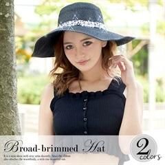 [全2色]ビジュー付ブレード女優帽