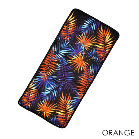 [dazzyオリジナルプリント][全2色]リーフ柄フェイスタオル【dazzy beach/2021夏小物】(オレンジ)