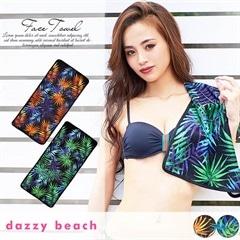 [dazzyオリジナルプリント][全2色]リーフ柄フェイスタオル【dazzy beach】