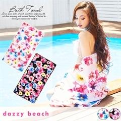 [dazzyオリジナルプリント][全2色]水彩カラフルフラワー柄バスタオル【dazzy beach】