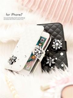 iphone7/ラインストーン付き手帳型iphoneケース