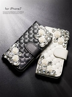 iphone7/大粒ビジュー付き手帳型iphoneケース
