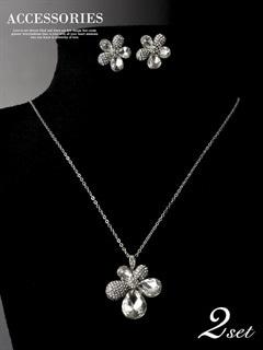 [2点SET]お花型ビジューネックレス&ピアスセット