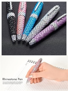 [全5色]キラキララインストーン付繰り出しミニボールペン