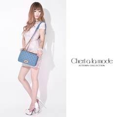 [dazzyオリジナル][Cheri a la mode]デニムキルティングチェーンバッグ