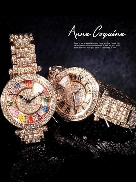 AAnne Coquine-アンコキーヌ- ぐるぐる時計ステンレス×ビジュー3連ブレスビッグフェイスウォッチ