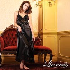【Reinest】フロント透けサテンワンカラーロングルームドレス