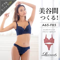 【Reinest】バストアップエレガントレース育乳脇高ブラジャー&Tバックショーツ