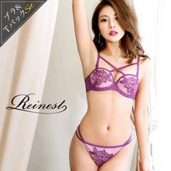 【Reinest】大判刺繍付きフロントクロスハーフカップブラジャー&バック透けTバックショーツ