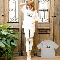 パームツリー×PEACEロゴプリントTシャツ[dazzycloset]