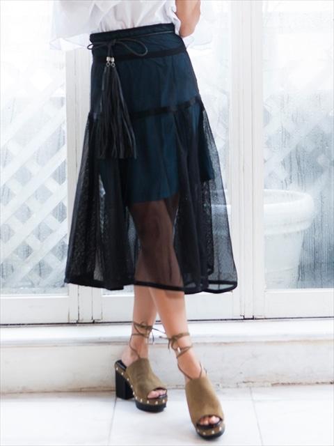 メッシュフレアスカート