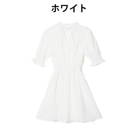 ハイネックリボンホワイトワンピース[odessalyin](ホワイト)