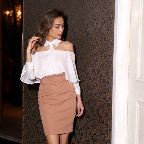 [2ピース]襟付きオフショルタイトスカート[カジュアル/dazzy closet]