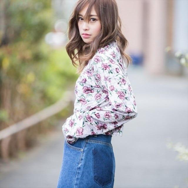 [#girl]フラワーハイネックショートトップス[dazzycloset]