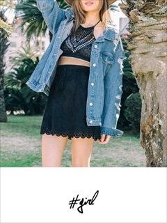 [#girl]スエードスカラップスカート