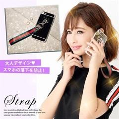 リング型ラインストラップiPhoneケース[カジュアル/dazzy closet]