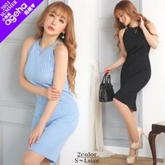 [SMLサイズ]アメスリワンカラータイト膝丈ドレス[3サイズ展開][カジュアル/dazzy closet]