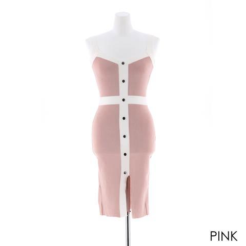 ボタン付きバイカラータイト膝丈ドレス[カジュアル/dazzy closet](ピンク-フリー)