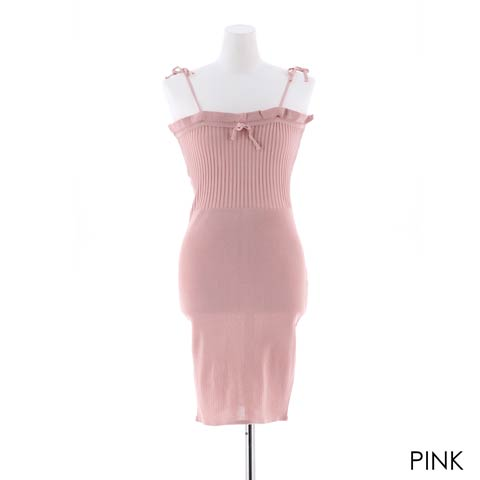 フロントリボンストライプタイトミニドレス[カジュアル/dazzy closet](ピンク-フリー)