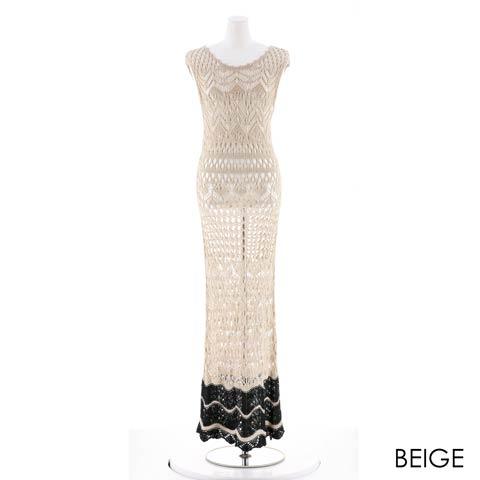 かぎ編みニットタイトロングドレス[カジュアル/dazzy closet](ベージュ-フリーサイズ)