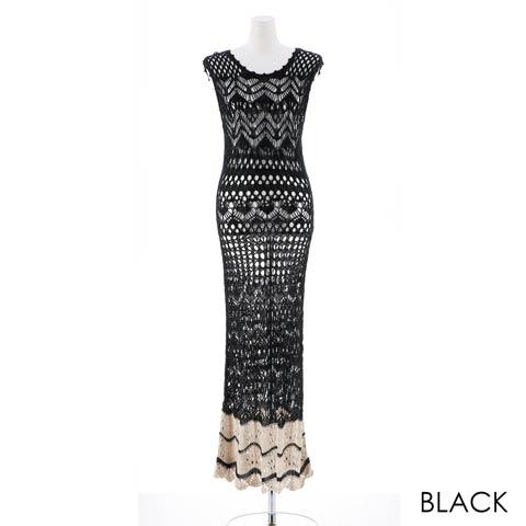 かぎ編みニットタイトロングドレス[カジュアル/dazzy closet](ブラック-フリーサイズ)