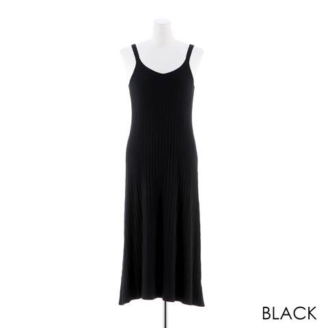 [SMLサイズ]ストライプバックスリットフレアロングワンピース[3サイズ展開][カジュアル/dazzy closet](ブラック-フリーサイズ)