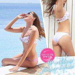 back W-ribbon 2way flower bikini[ビキニ/dazzy closet][送料無料]
