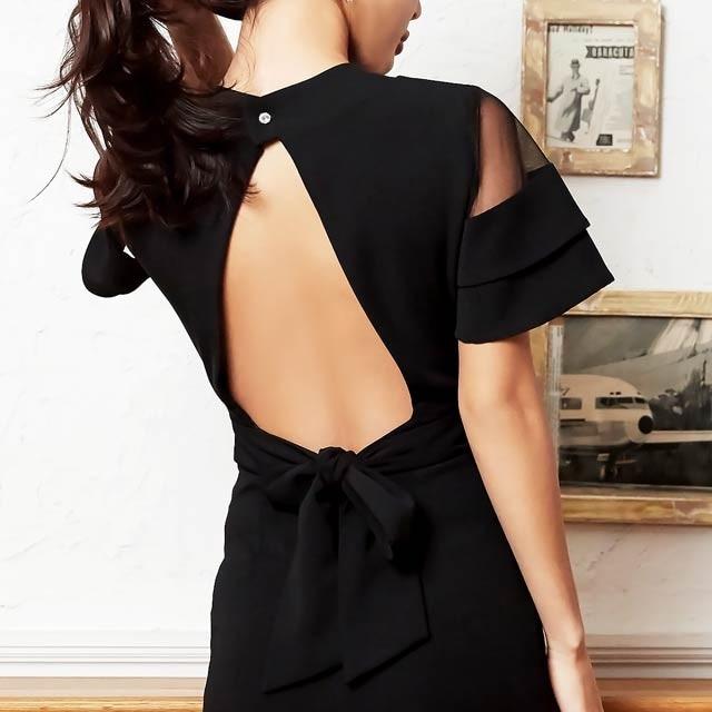 キム ボラム着用[SMLサイズ]ワンカラー背中開きタイトドレス[3サイズ展開][change clothes][送料無料]