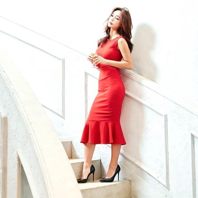 キム ボラム着用[SMLサイズ]ワンカラーノースリマーメイドラインドレス[3サイズ展開][change clothes][送料無料]