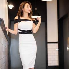 [韓国ドレス]モノトーン配色キャミ膝丈ドレス[change clothes][送料無料]