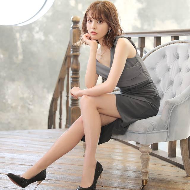 ダークグレーカシュクールタイト膝丈ドレス