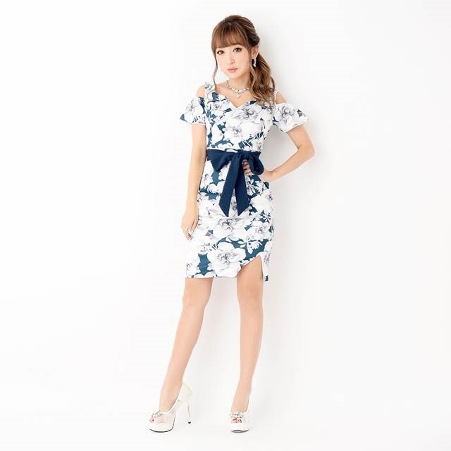 9/10UP[SMLサイズ]オープンショルダーフラワープリントミニタイトドレス[3サイズ展開]